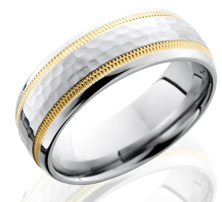 Simple Men us Hammered Cobalt Band with Dual Milled K Gold Inlays Wide Wedding