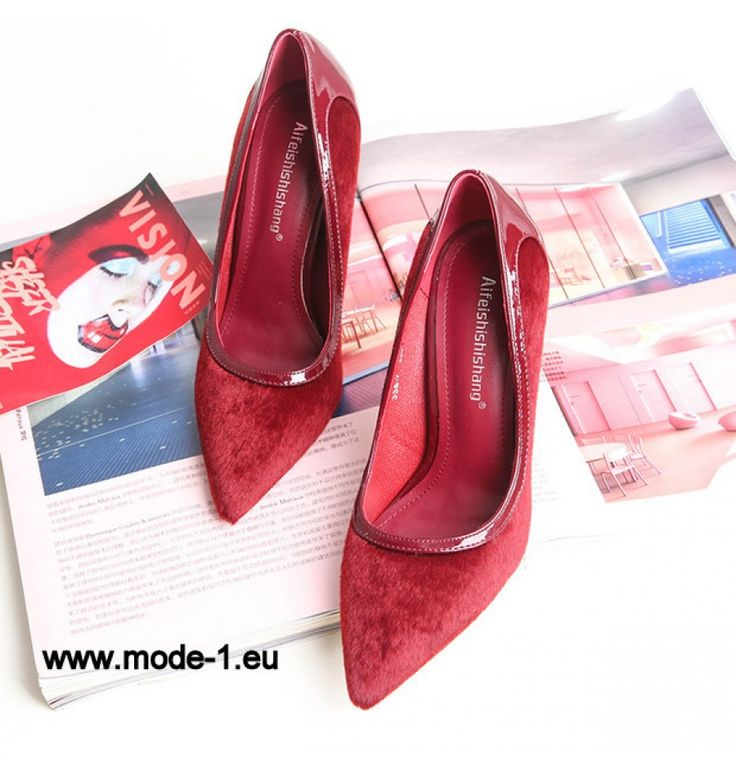 Neu Design Patchwork Spitzschuh Stiletto Pumps in Rot