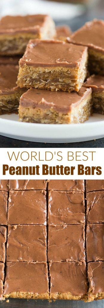 Perfectly thick, soft and chewy peanut butter bars with a peanut butter and chocolate glaze. These are the BEST cookie bars ever and they're really easy to make. #peanutbutter #bars #cookies #dessert #chocolate via @betrfromscratch