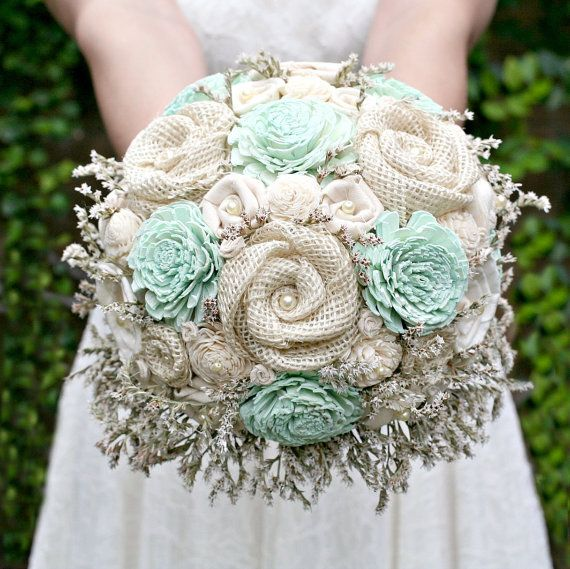 Rustic Burlap and Mint Sola Wood Bride's Keepsake Wedding Bouquet - Handmade by TheSunnyBee on Etsy
