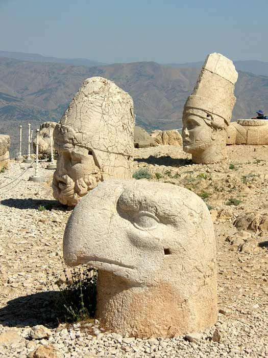 Mount Nemrut - Over 2,000 years ago, the tomb of Antiochus I was built up here at 7,000ft, alongside large stone incarnations of various Persian and Greek gods and animals.
