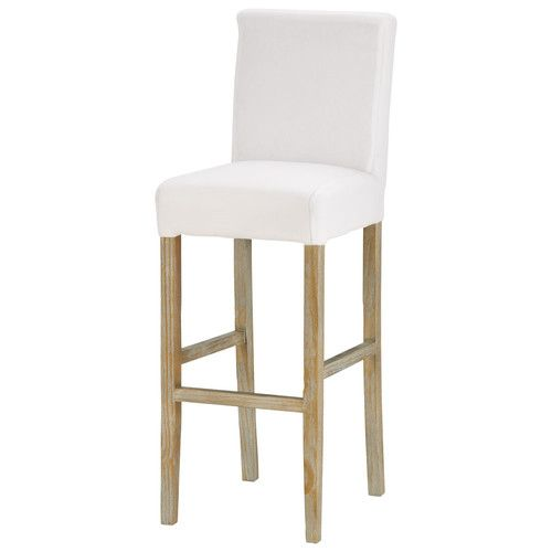 Bar chair fabric and white solid wood