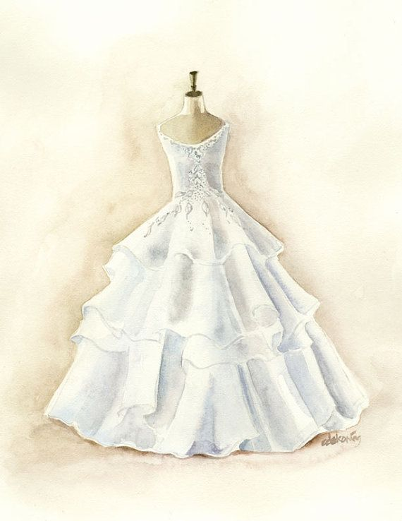 white layered wedding dress watercolor painting by christydekoning, $20.00