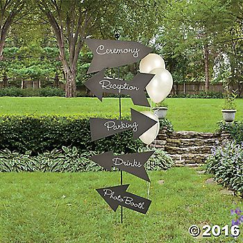 Take the guessing out of finding your wedding ceremony with this cardboard Chalkboard Directional Sign. The perfect addition to your wedding supplies, use ...