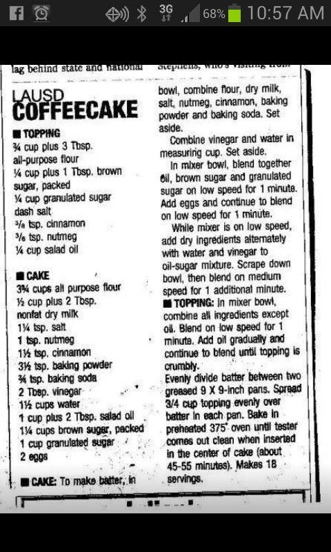 Lausd Peanut Butter Coffee Cake Recipe