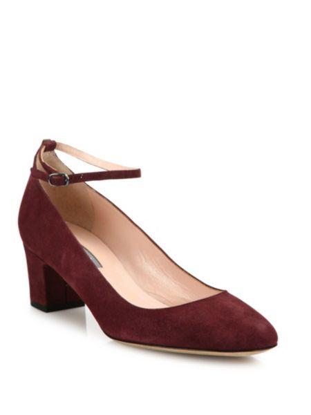 SJP by Sarah Jessica Parker - Ingenue Suede Ankle-Strap Block-Heel Pumps | $365