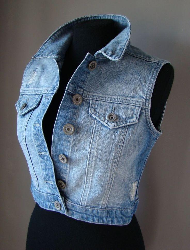 Gilet jeans denim donna colletto senza maniche blazer jacket blu S 38 blu chiaro