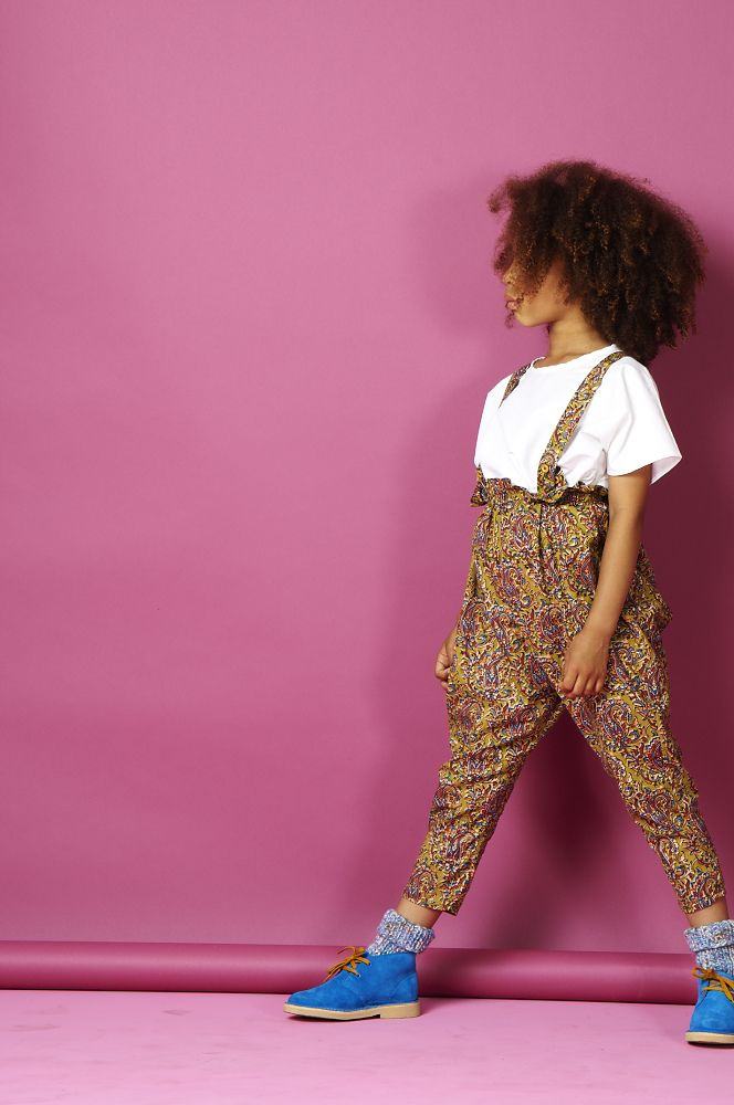 New to What Mother Made this season is the girls paper bag waist dungaree High waisted with a ballon trouser leg, the new silhouette also features a cross over strap at the back that fastens at the front with hand made wooden buttons. Available in a great sage swirl african print fabric. http://www.whatmothermade.co.uk/girls-clothes-what-mother-made/girls-paper-bag-waist-dungaree-trouser-in-sage-swirl