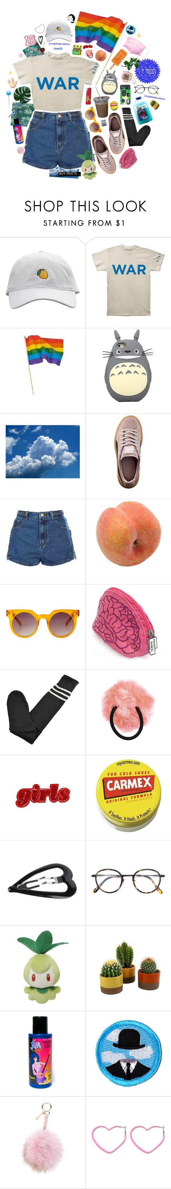 """""""190"""" by shelbyo3o ❤ liked on Polyvore featuring Puma, Topshop, Pavilion Broadway, Monki, Carmex, Forever 21, Frency & Mercury, Nintendo, PLANT and Manic Panic NYC"""