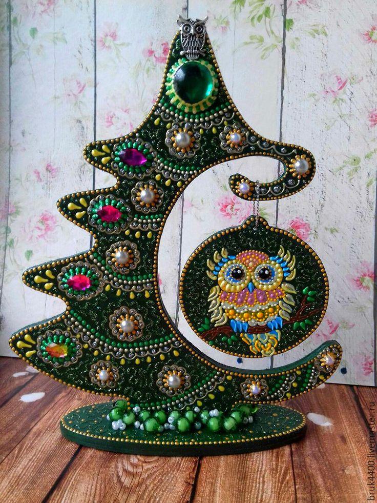 Купить Елочка - Совушка - тёмно-зелёный, елка, елка новогодняя, елка ручной работы, елочка