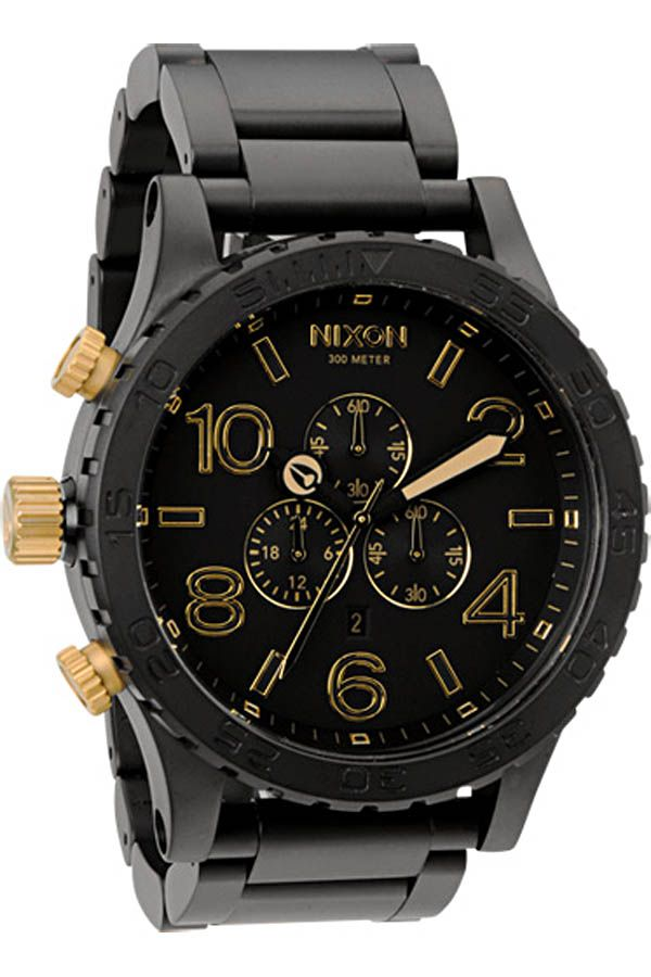 Nixon 51-30 Chrono Watch in Matte Black / Gold
