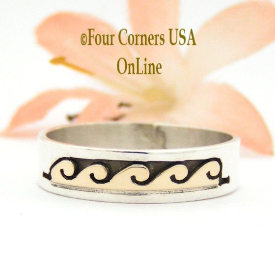 Four Corners USA Online - Size 10 3/4 Ring 14K Gold and Silver Wave Water Symbol Wedding Band Style Navajo Scott Skeets NAR-1597, $65.00 (http://stores.fourcornersusaonline.com/size-10-3-4-ring-14k-gold-and-silver-wave-water-symbol-wedding-band-style-navajo-scott-skeets-nar-1597/)