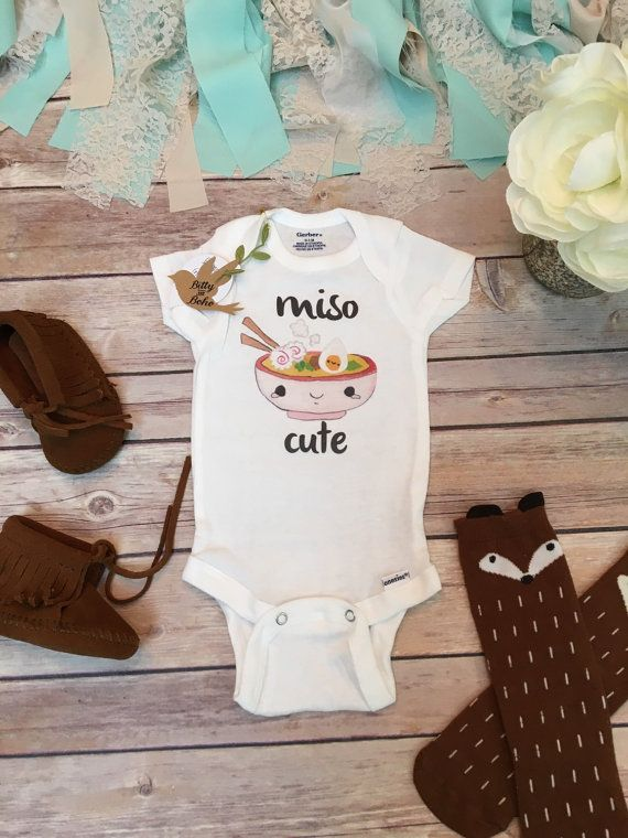 Miso Cute Onesie® Bodysuit (or T-Shirt)  Funny hipster baby bodysuit or t-shirt…
