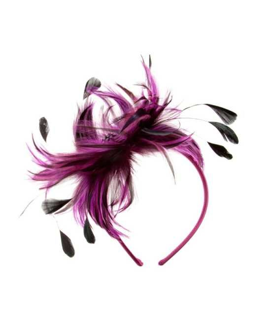 Amorni Gusta Fascinator Fuchsia Racing Fashion Australia Fashions, The Amorni Gusta Fascinator features a cluster of coloured feathers in a unique floral shape, and is finished with a diamante-encrusted centre.  $100.00