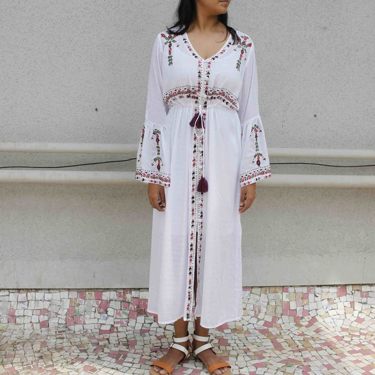 White Modal Cotton Embroidered Dress