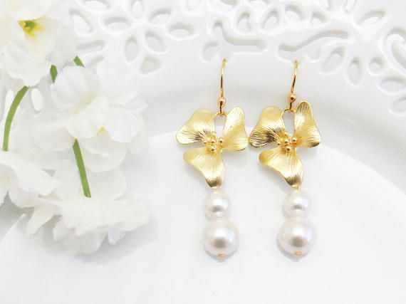 Gift for Wife Pearl Earrings Orchids Earrings Valentines