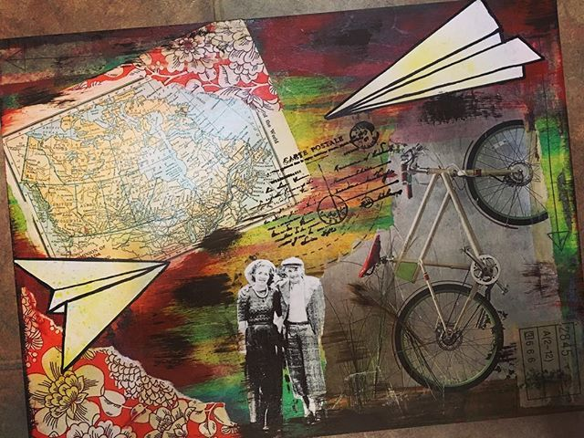 Today I took a mixed media class with the Paint Spot. This piece is more personal as it includes a photo of my grandparents.  They were immigrants from Holland so it represents their journey to Canada. #thepaintspot #mixedmedia #omaandopa #immigrants #journeytocanada #yegartist #edmontonartist #theurbangypsy  www.theurbangypsy.ca ✈️