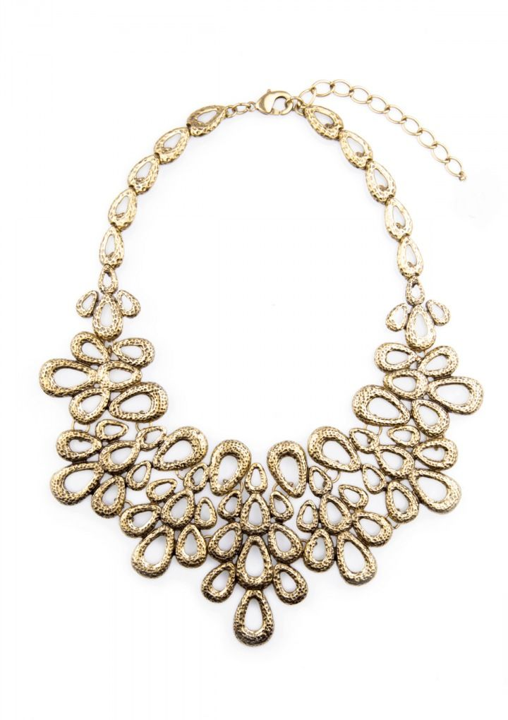 Bold and elegant, this vintage-inspired statement necklace features a unique flower bouquet inspired design. Wear this necklace with your favorite dress for a feminine elegant look.