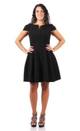 Betsy & Adam - A17163 Black A line dress with cap sleeves | Little ...