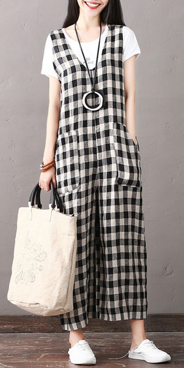9948e13f41 Fashion Black Plaid Cotton Linen Overalls Women Casual Jumpsuit K1861