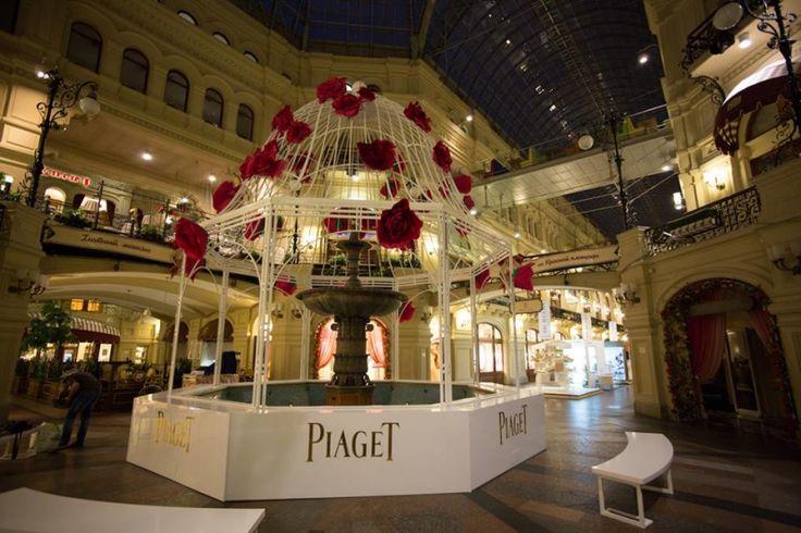 БЕСЕДКА ДЛЯ БРЕНДА Piaget в ГУМе. Изготовление оформление витрин в Москве