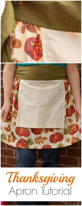 Pattern and tutorial for an easy Thanksgiving apron to sew. Includes a small towel on front for wiping your hands. Great easy apron pattern for beginners.