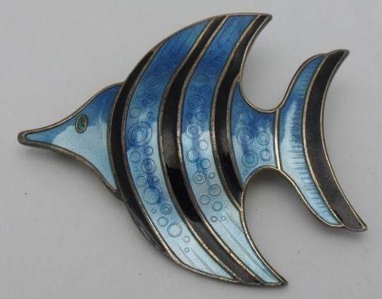 David Andersen Norway Sterling Enameled Fish Pin