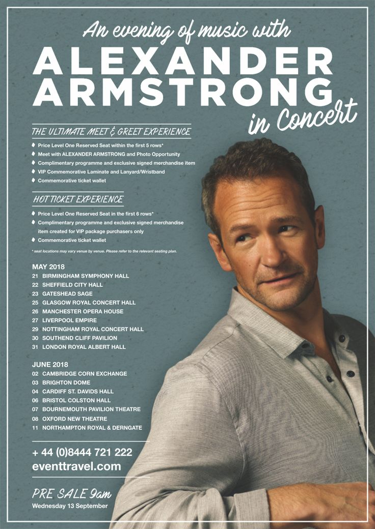 ALEXANDER ARMSTRONG First Christmas album 'In a Winter Light' to be released November 24th  Alexander Armstrong 2018 tour announced – includes London's Royal Albert Hall - VIP Ticket Experiences including a Meet & Greet with Alexander himself! as well as other VIP Ticket options! ** Pre-Sale 13th Sept 2017 @ 9am **  After two Top 10 albums – 'A Year of Songs' (2015) and 'Upon A Different Shore' (2016) – Alexander Armstrong will release his first Christmas album 'In A Winter Light' on…