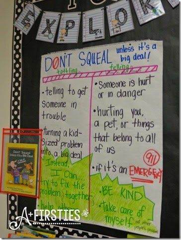 Don't Squeal Unless it's a Big Deal, chart for tattling vs. telling and ways for kids to try solving their own problems