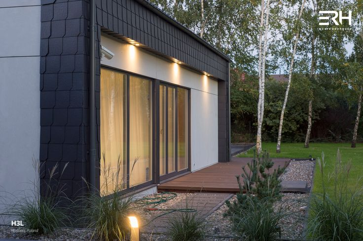 House H3L in Kłodawa, Poland #architecture #design #modernarchitecture #dreamhome #home #house #passivehouse #energysavinghouse  #modernhome #modernhouse #moderndesign #homedesign #modularhouse #homesweethome #scandinavian #scandinaviandesign #lifestyle  #nature #evening # lighting #terrace #comftzone #houselighting #garden #ecoreadyhouse #erh