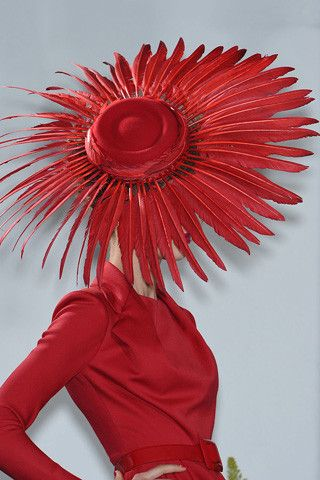 Red feathers - hat couture ~ Dior, 2009                                                          x