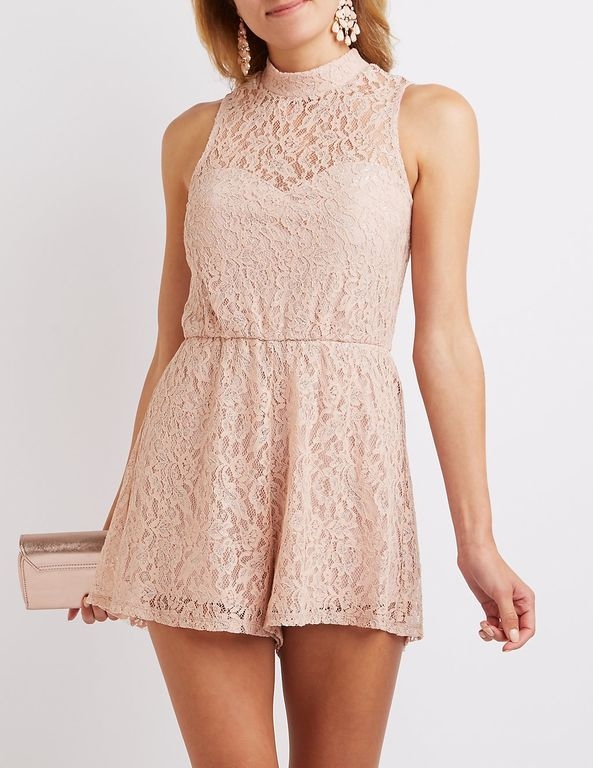 d6ae27f7b932 Lace Mock Neck Romper