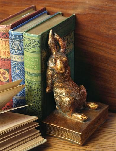 Bookend bunny is putting a lot of effort into his task...my kind of rabbit.