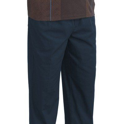 Men's Elastic Waist Pants Size: Medium, Color: Navy Silvert's. $40.00. 0507900103 Size: Medium, Color: Navy Pictured in Navy Features: -Pants.-Polyester / cotton twill, 65pct polyester, 35pct cotton.-Redesigned for an even better fit and now with a touch of spandex to stretch and move.-Closed elasticized waist with drawstring.-Two front pockets and one back patch pocket.-Zippered fly.-Usually offered in a plus size clothing range.-Unconditional money back guarantee.-Mach...
