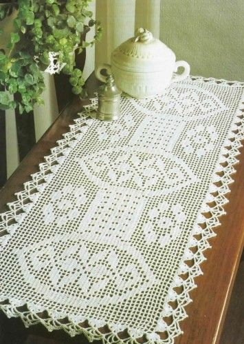 Filet crochet chart for table runner crochet works for Chemin de table crochet