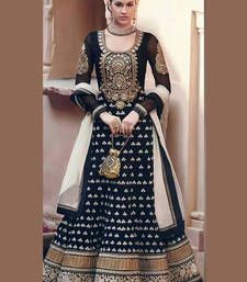 Buy Black Embroidered Net semi-stitched salwar with dupatta semi-stitched-salwar-suit online