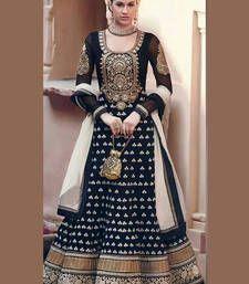 Buy Black Embroidered Net semi-stitched salwar with dupatta semi-stitched-salwar-suit online