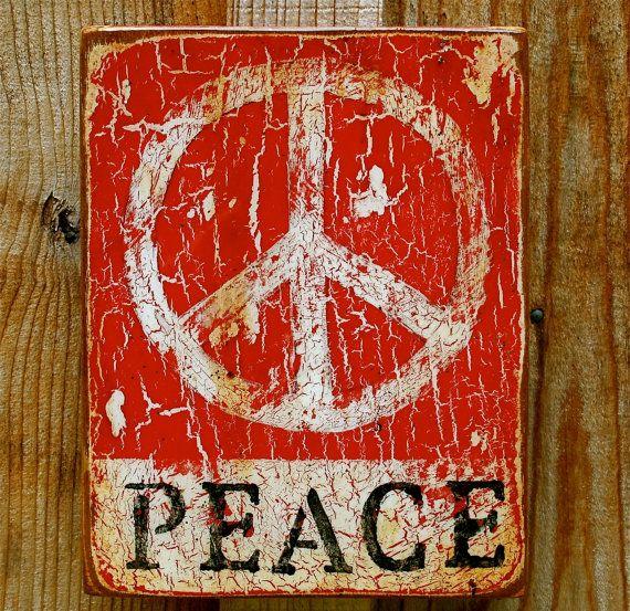 Peace Work Red N' White Peace 8 x 10 X 2 by CarolineJamesFineArt, $115.00