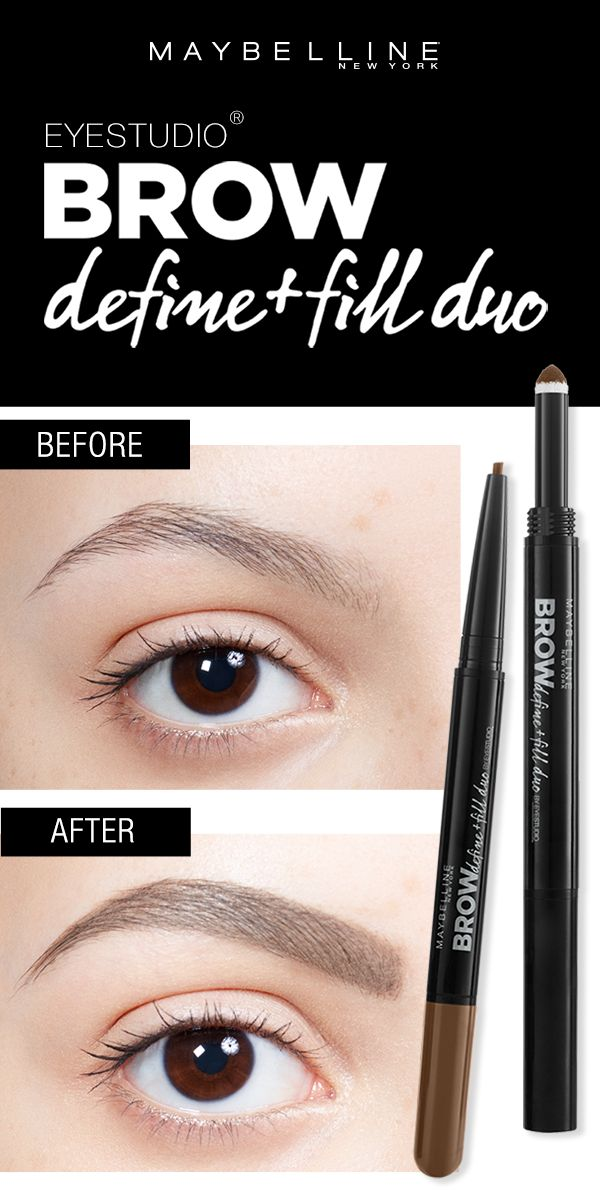 Get full, smooth, natural looking eyebrows using the Maybelline Brow Define + Fill Duo.  Use the micro fine tip to define the brow.  Then, use the powder end to fill the brow in easily.  Click through to find your perfect brow look using the Brow Play Studio by Maybelline!