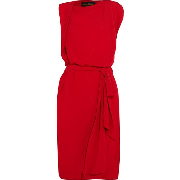 Vivienne Westwood Anglomania Rixon draped crepe dress ($445) ❤ liked on Polyvore featuring dresses, red, red dress, red draped dress, red going out dresses, red holiday party dress and vivienne westwood anglomania