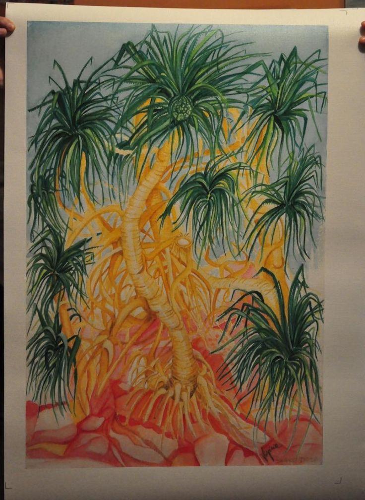 Riproduzione su tela di un mio acquerello che raffigura una pianta indiana chiamata \