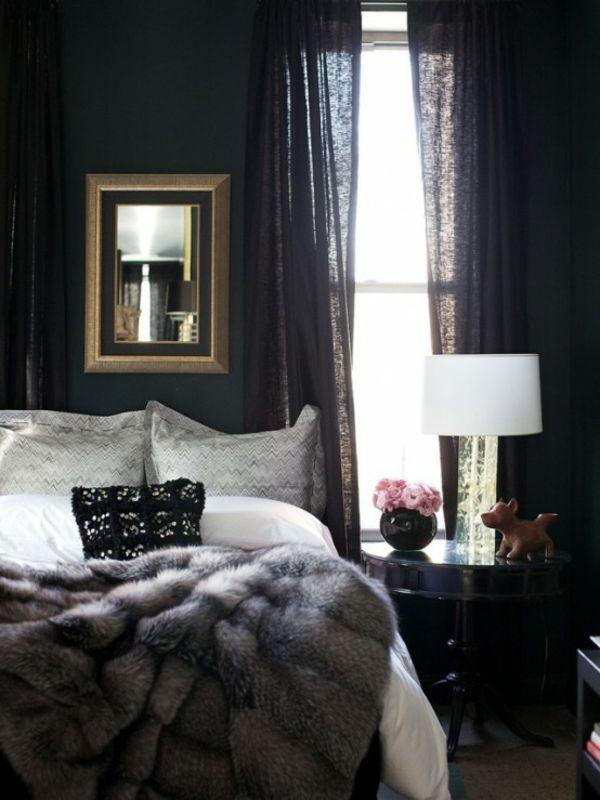 Bedroom with Fur Blanket - Scandinavian Home Accessories (Schlafzimmer mit Pelzdecke - Felldecke - skandinavische Wohnaccesoires)