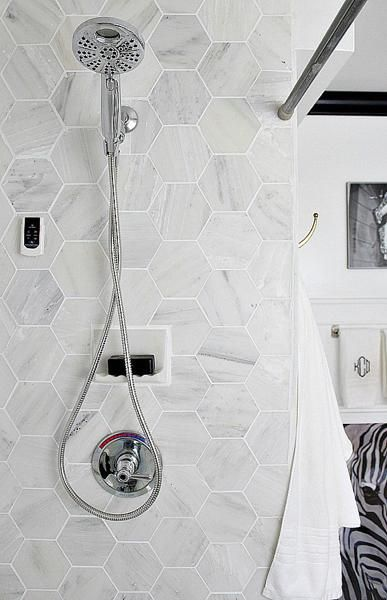 latest trends in decorating with bathroom tiles - love this gray hex tile