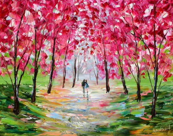 Original oil painting VALENTINE ROMANCE LANDSCAPE by Karensfineart, $175.00