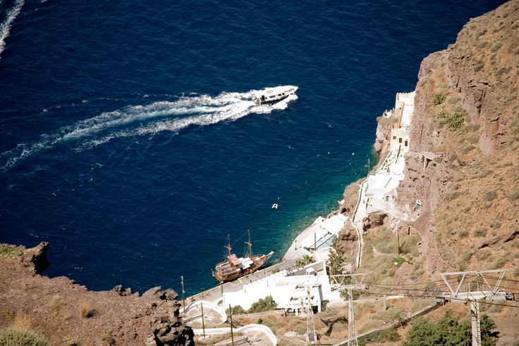 The old port of Fira in Santorini