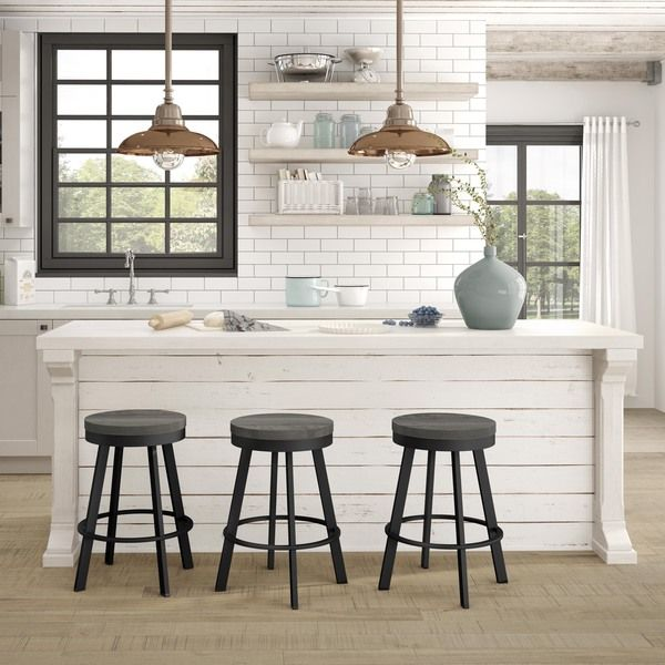 Amisco Warner Swivel Metal Counter Stool With Distressed