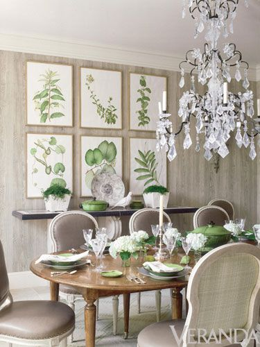 chandelier, antique botanicals, tablescape! Love!