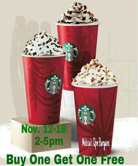 Melissa's Coupon Bargains: Starbucks BOGO Holiday Drinks Nov. 12-15