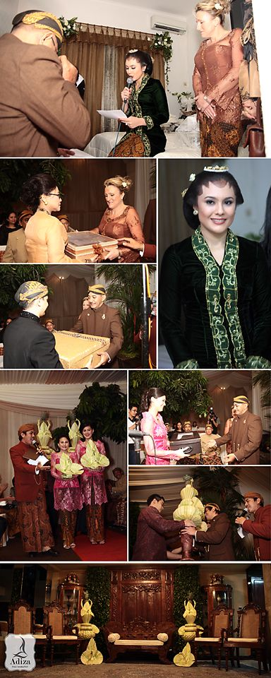 """""""Midodareni"""" or Widodari mean Angel from heaven. First step of Midodareni night are """"Tantingan"""", Parents ask to the bride about her intention to marry with a man her chose. The bride requirements that the bride groom bring """"Kembar Mayang"""", and then bride's father give bride groom """"Kancing Gelung"""" or Wedding apparel for him which will be used for wedding day."""