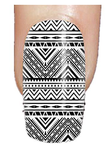 Fashionable Designed Plastic False Nails With Aztec in White and Black Pattern